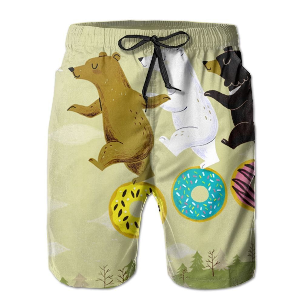 Men's Cute Cartoon Bear Summer Beach Shorts Leisure Quick Dry Swimming Pants Beach Surfers