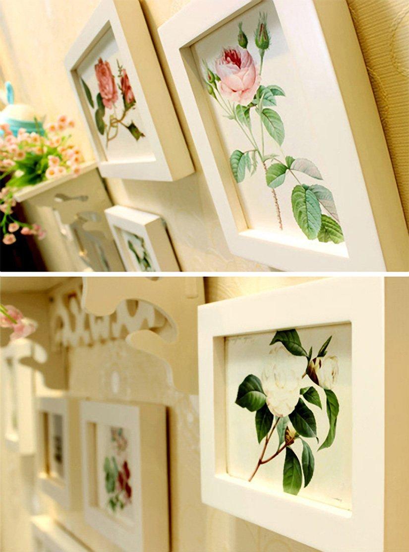 d816b53faffb Buy WollWoll Flowers Art with Wall Shelf Sofa Background Large Photo Frame  Set (130 cm x 1.6 cm x 70 cm