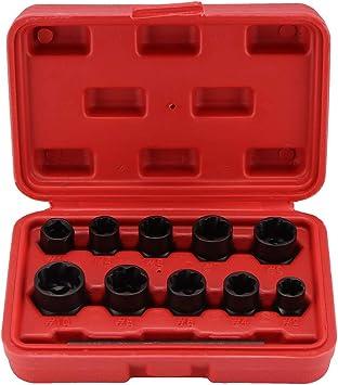 10PCS Twist Socket Set Damaged Lug Nut Bolt Lock Remover Screw Extractor Tools