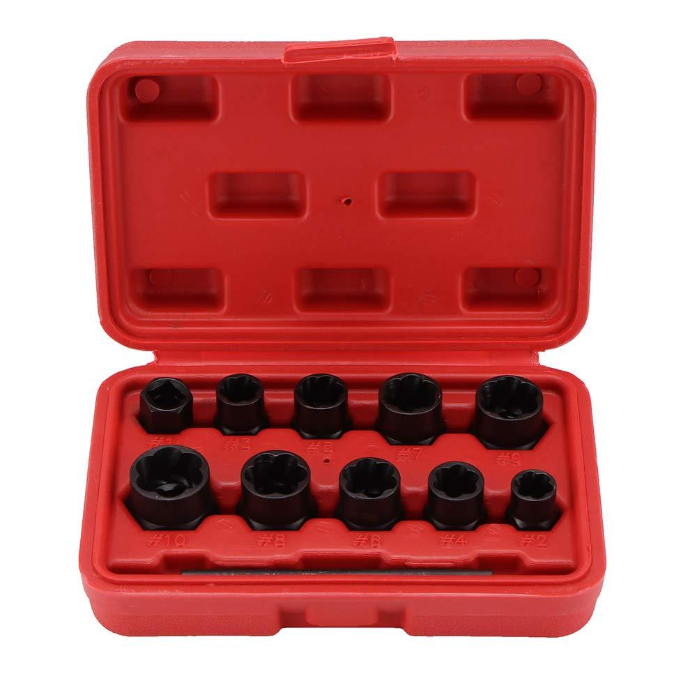 Konesky 11Pcs Damaged Bolt/nut Remover Set, 9-19Mm Locking Wheel Bolt Nut Stud Extractor Twist Socket Set Threading Hand Tools Kit With Box by Konesky
