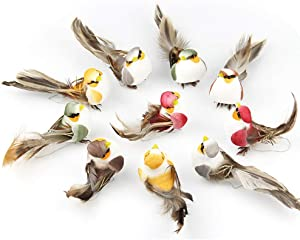 12pcs Artificial Feather Birds Foam Mini Love Birds for Craft Home Ornaments Outdoors Weddings Decoration with Claw 10.5cm/4.13inch