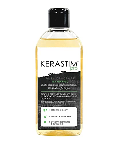 KERASTIM PRO - Champú anticaspa con bioenvejecido compuesto fuerte y natural, extracto de sauce blanco