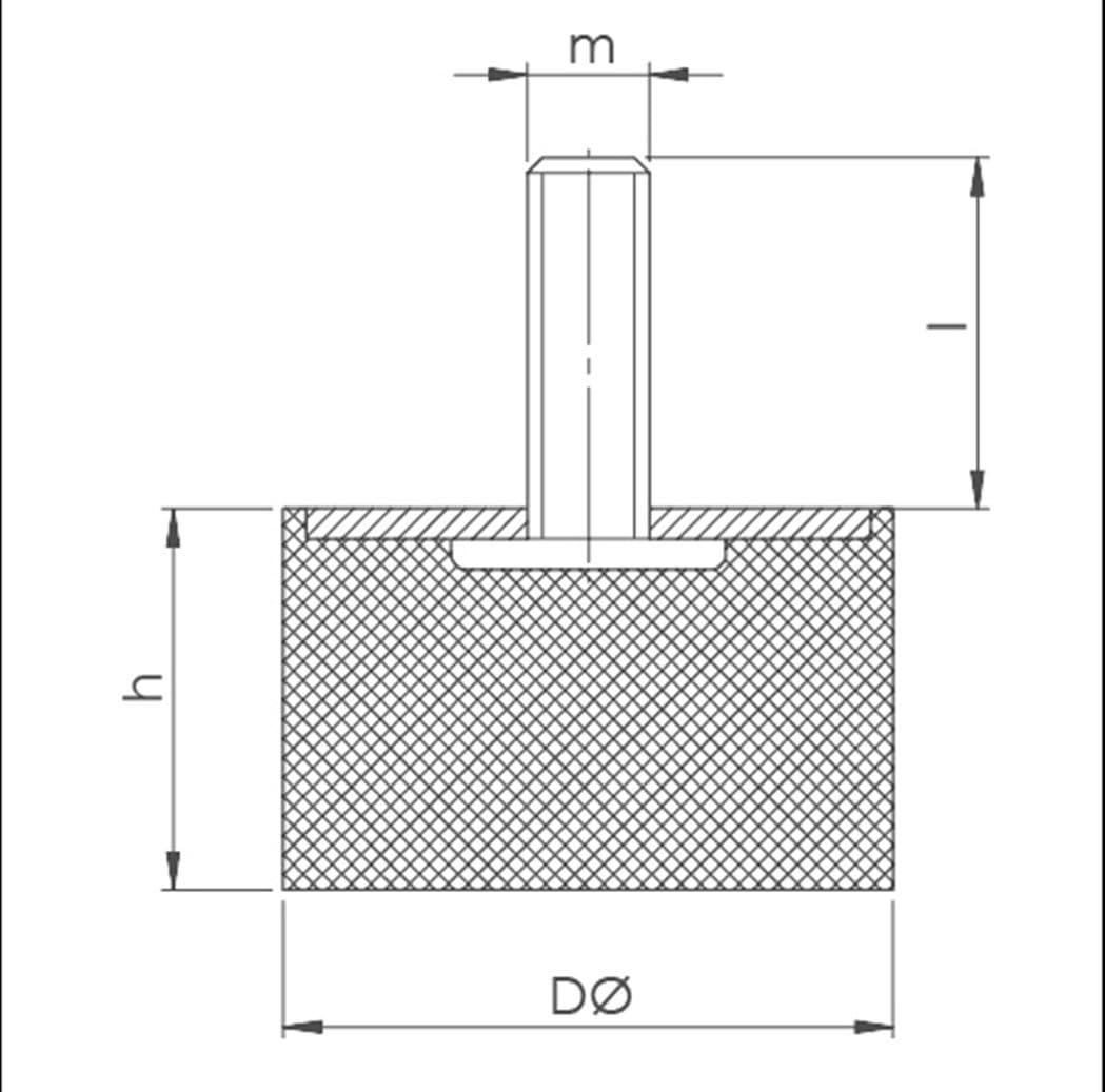 Diff/érentes dimensions Pied de meuble en caoutchouc et m/étal Avec filetage unilat/éral