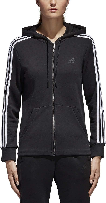 adidas Women's Essentials Cotton Fleece 3-Stripe Full Zip Hoodie