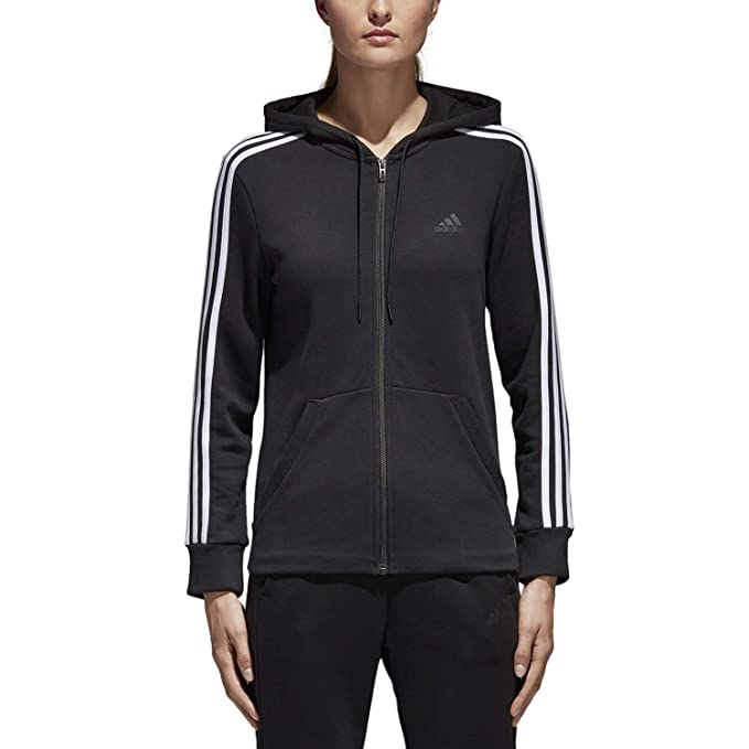 adidas Women's Essentials Cotton Fleece 3 Stripe Full Zip Hoodie