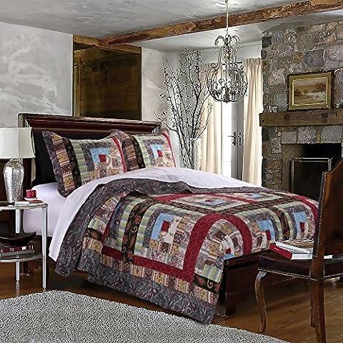 3 Piece Brown Patchwork King Size Quilt Set, Red Blue Rustic Square Medallion Bedding, Floral Flowers Boho Chic Patch Work, Log Cabin Cottage, Cotton Reversible, - Cottage Flower Bedding
