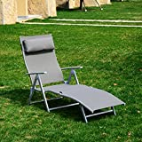 Outsunny Heavy-duty Adjustable Folding Reclining Chair Seat Outdoor Chaise Lounge Patio Beach Camping Zero Gravity Lounge with Pillow (Grey)