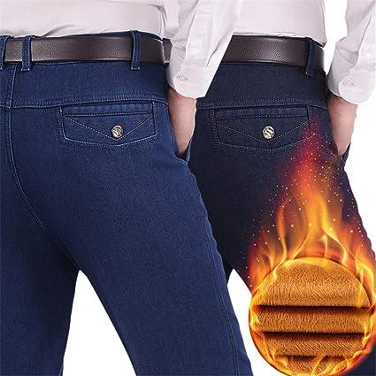 Jeans de Hombre Vaqueros de Cintura elástica con Flecos ...