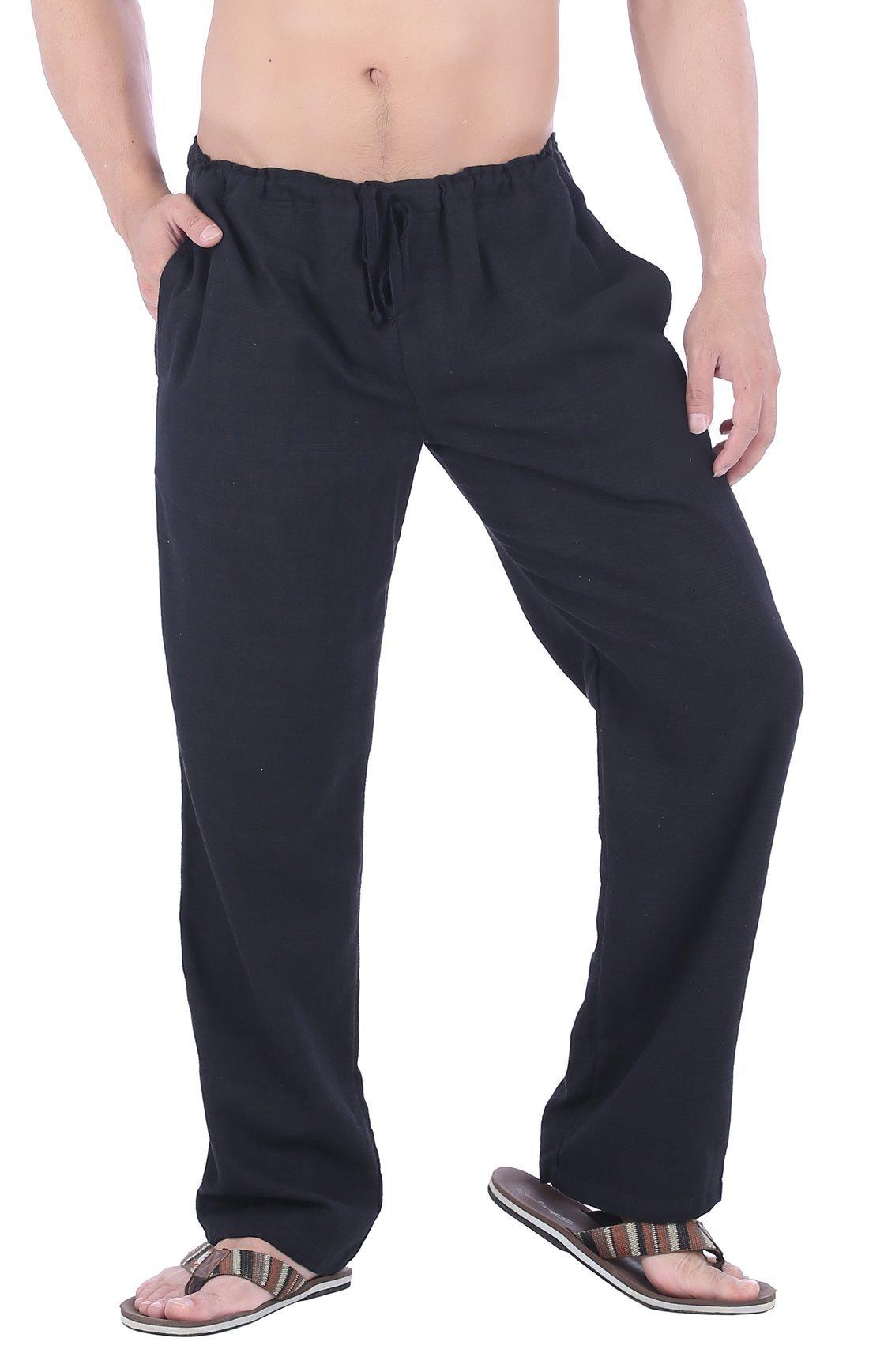 CandyHusky Men Cotton Straight-Leg Drawstring Summer Casual Tai Chi Yoga Pants (XXL, Black)