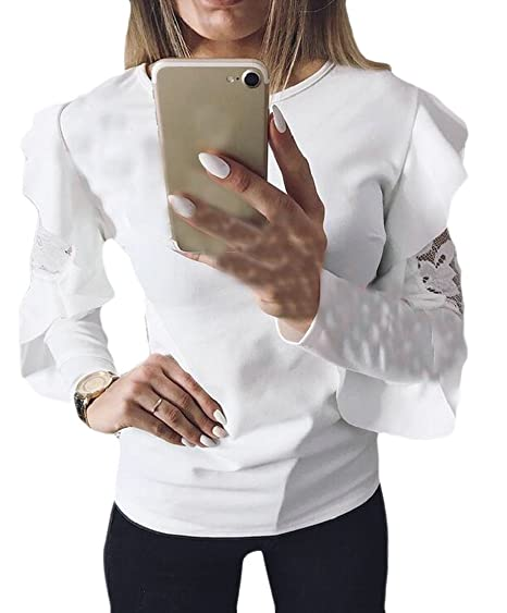 FLCH+YIGE Womens Casual Relaxed Fit Embroidered Broken Round Neck Pullover Sweatshirts