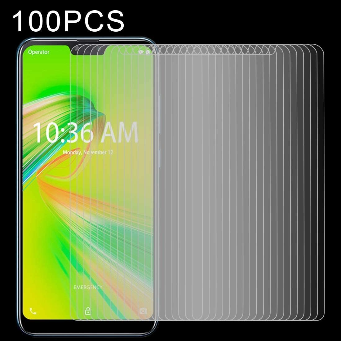 CAIFENG Tempered Glass Film Screen Protector 100 PCS 0.26mm 9H 2.5D Tempered Glass Film for Sony Xperia 10 Anti-Scratch