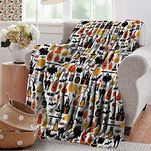 PearlRolan Throw Blanket,Halloween,Halloween Icons Collection Candies Owls Castles Ghosts October 31 Theme,Orange Yellow Black,Sofa Super Soft, Plush, Fuzzy Microfiber Throw Reversible,Comfy 60