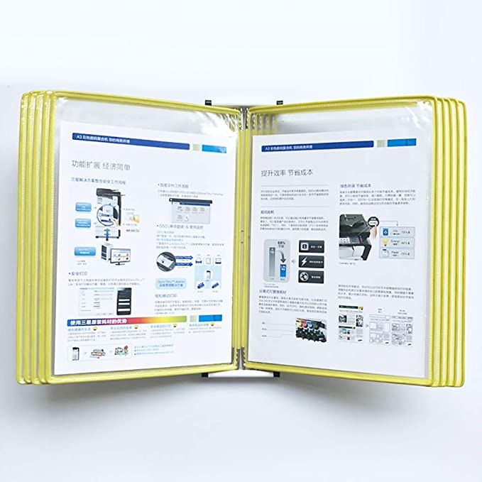 Size : 10 Pages PVC+Metal Wall-Mounted Magnetic Display Flip File Holder
