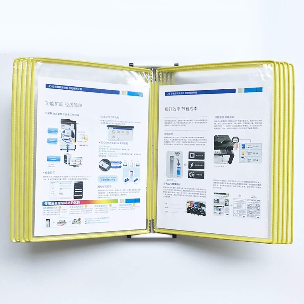 VIP Customer Information A4 File Flipping Clamp Magnetic Wall-Mounted Loose-Leaf Transparent Page Displays 10 Pages (PVC + Metal) 33 23 10CM (Color : E)
