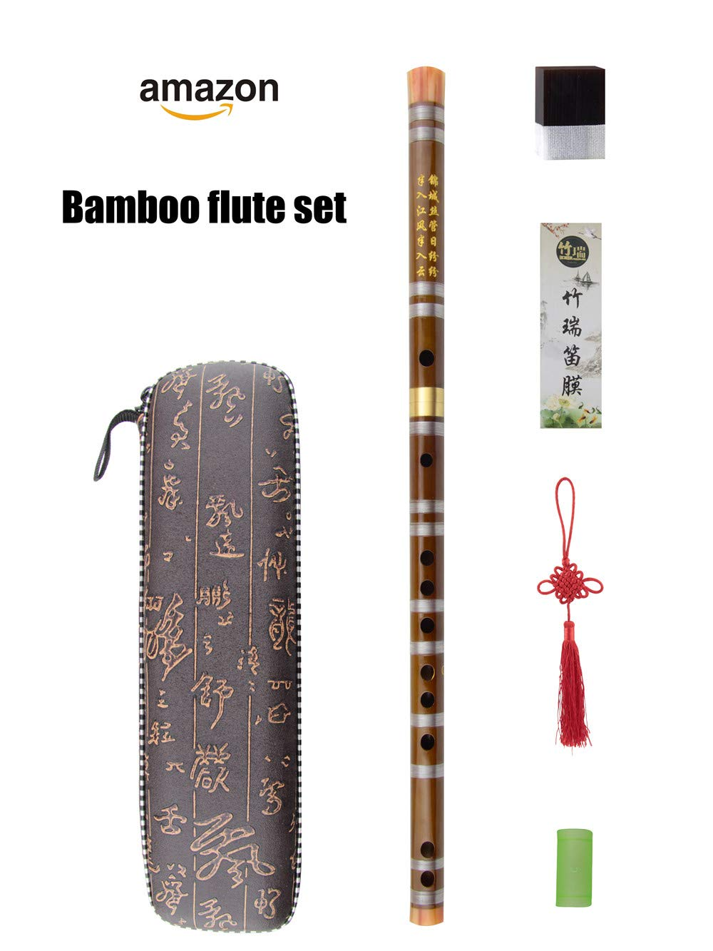 C Key Dizi Bitter Bamboo Flute for Beginners with Free Membrane /& Glue /& Protector Set Traditional Chinese Instrument(Key of C//Bitter Bamboo)