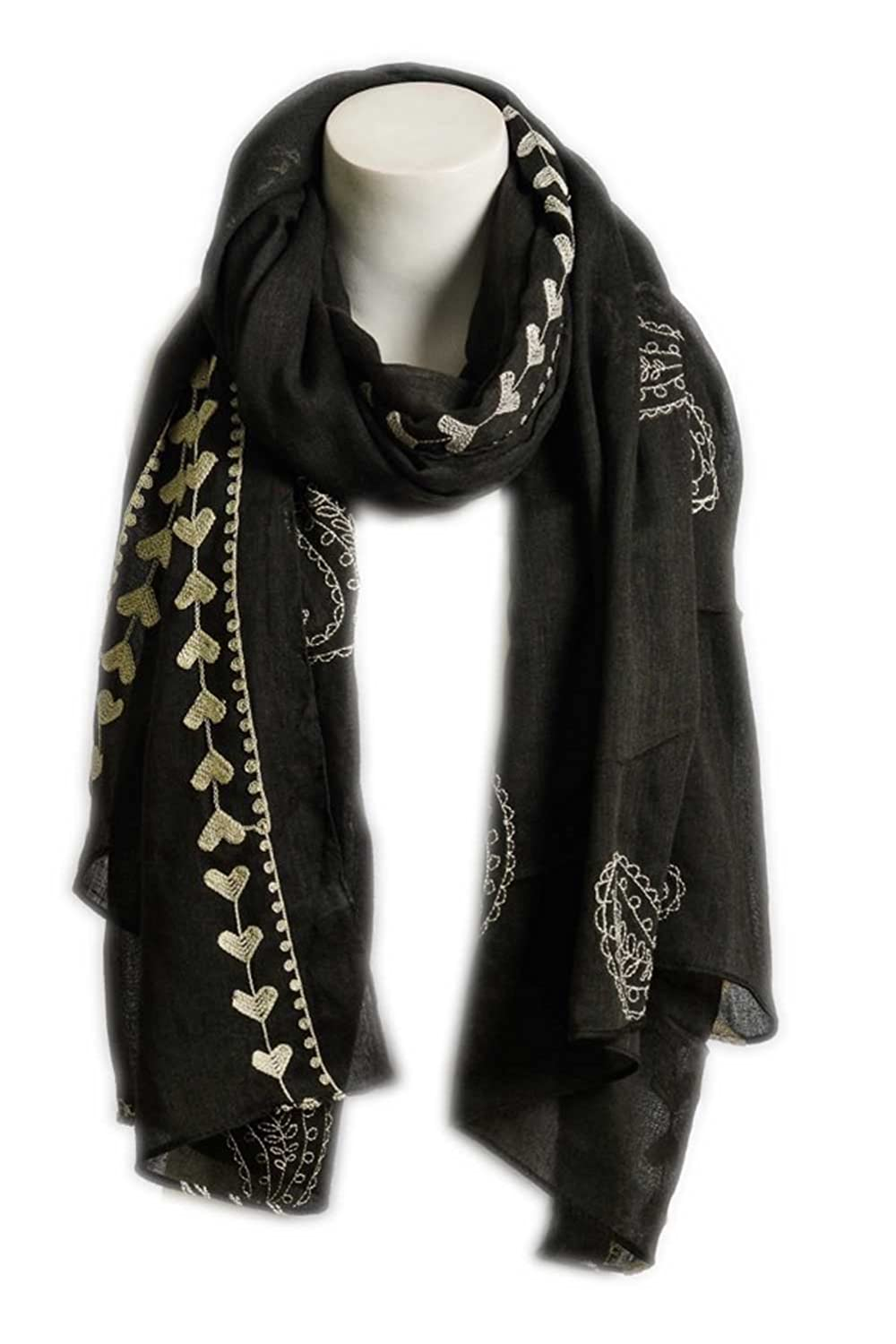Aesthetinc Classic Lightweight Embroidered Heart & Paisley Print Scarf