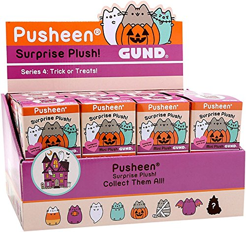 Pusheen Gund Cat Halloween Series 4 Trick or Treats Case of 24 Mini Surprise Plush -