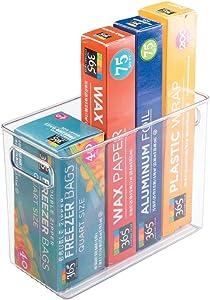 mDesign Tall Plastic Kitchen Pantry Cabinet, Refrigerator or Freezer Food Storage Bin with Handles - Organizer for Fruit, Yogurt, Snacks, Pasta - Food Safe, BPA Free - 10