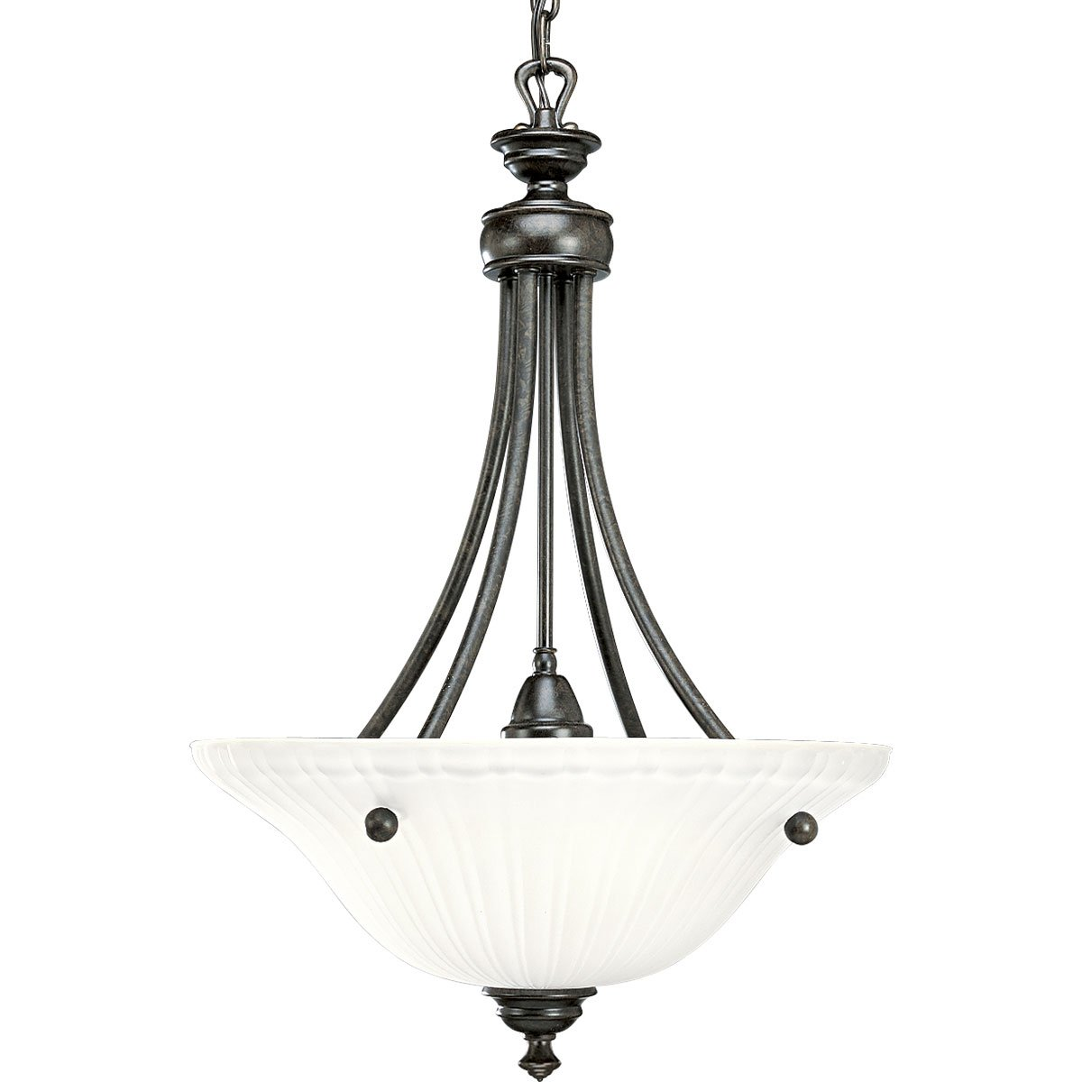 Progress Lighting P3608-77 3-Light Inverted Pendant with Etched Glass, Forged Bronze