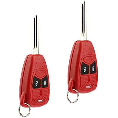 Key Fob Keyless Entry Remote fits Chrysler Aspen Pt Cruiser / Dodge Caliber Dakota Durango Magnum Nitro Ram / Jeep Compass Patriot Wrangler / Mitsubishi Raider (Red), Set of 2: Automotive