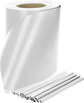 65m Plastik Sichtschutzstreifen für Zäune Sichtblende Zaun PVC Rolle hellgrau