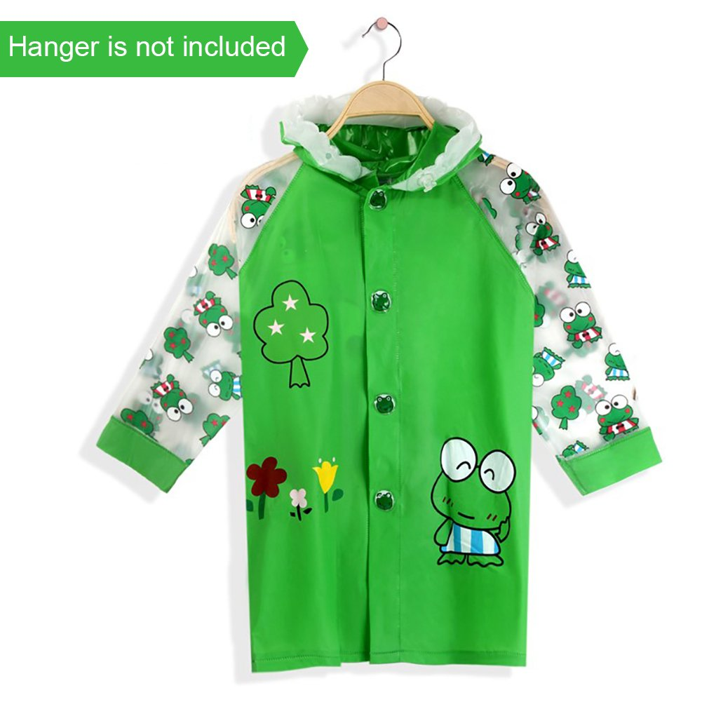Shinybaby Kids Rain Poncho, Cartoon Hooded Raincoat for Children Reusable Rainwear with School Bag Cover for 6-12 Years Old