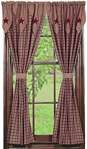 IHF Home Decor Vintage Star Wine Design Panel Window Treatment Curtains Panels 100 Cotton Fabric 72 X 63 Inche