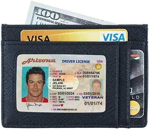 NapaWalli RFID Blocking Minimalist Genuine Leather Slim Front Pocket Wallet