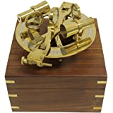 """8"""" Nautical Round Brass Sextant with Beautiful Wooden Box"""