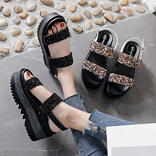 EU35 Summer Sequins White Height Women's Wedge Strap 5 8 Heel UK4 5CM Black Bottom Size 2 Thick 225 Colors Color Sandals US5 PENGFEI Ankle Tourism wfF8q4nH