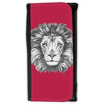 Cartera para hombre // Q05160615 Dibujo león Brillante Marrón // Large Size Wallet: Amazon.es: Electrónica
