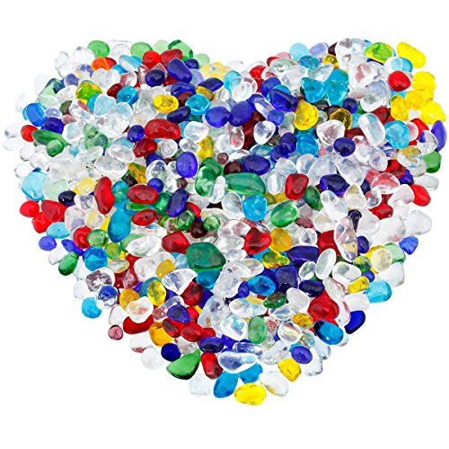 rockcloud 1 lb Colorful Lampwork Glass Tumbled Chips Crushed Stone Healing Reiki Crystal Jewelry Making Home Decoration (Glass Crystal Lampwork)