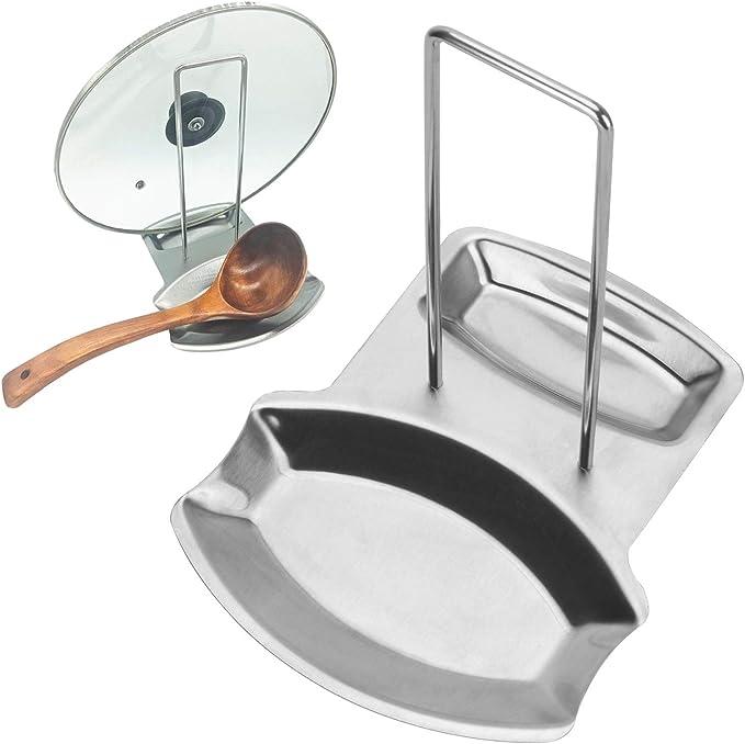 Kitchen Organizer Pot Lid Rack Stainless Steel Spoon Holder Shelf Cooking Dish