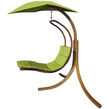 Amazon.de: Design Hängeliege NAVASSA mit Gestell aus Holz Lärche ...