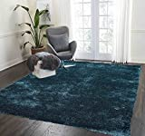 Dark Green Teal Shaggy Shag Area Rug 7×10 High End Designer Quality Two Tone Flokati Medium Pile Soft Iridescent Sheen Ultra Plush 2018 For Sale
