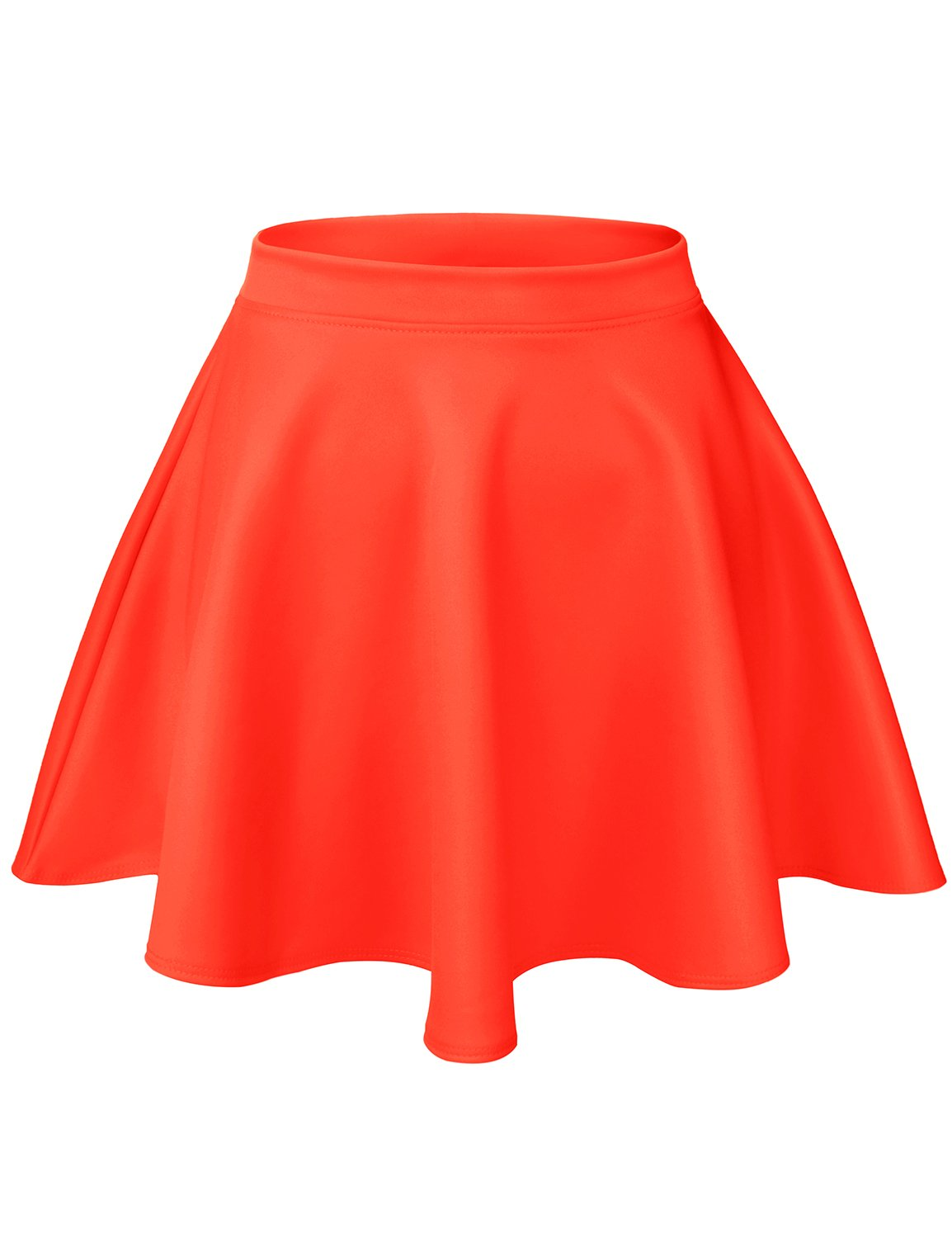 Luna Flower Women's Basic Versatile Stretchy Flared Casual Mini Skater Skirt NEON_Orange Large (GSKW001)