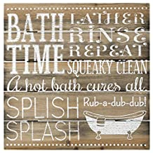 Malden Bath Time Silkscreened Pallet Wood Rustic Sign, 12-Inch X 12-Inch, Barnwood