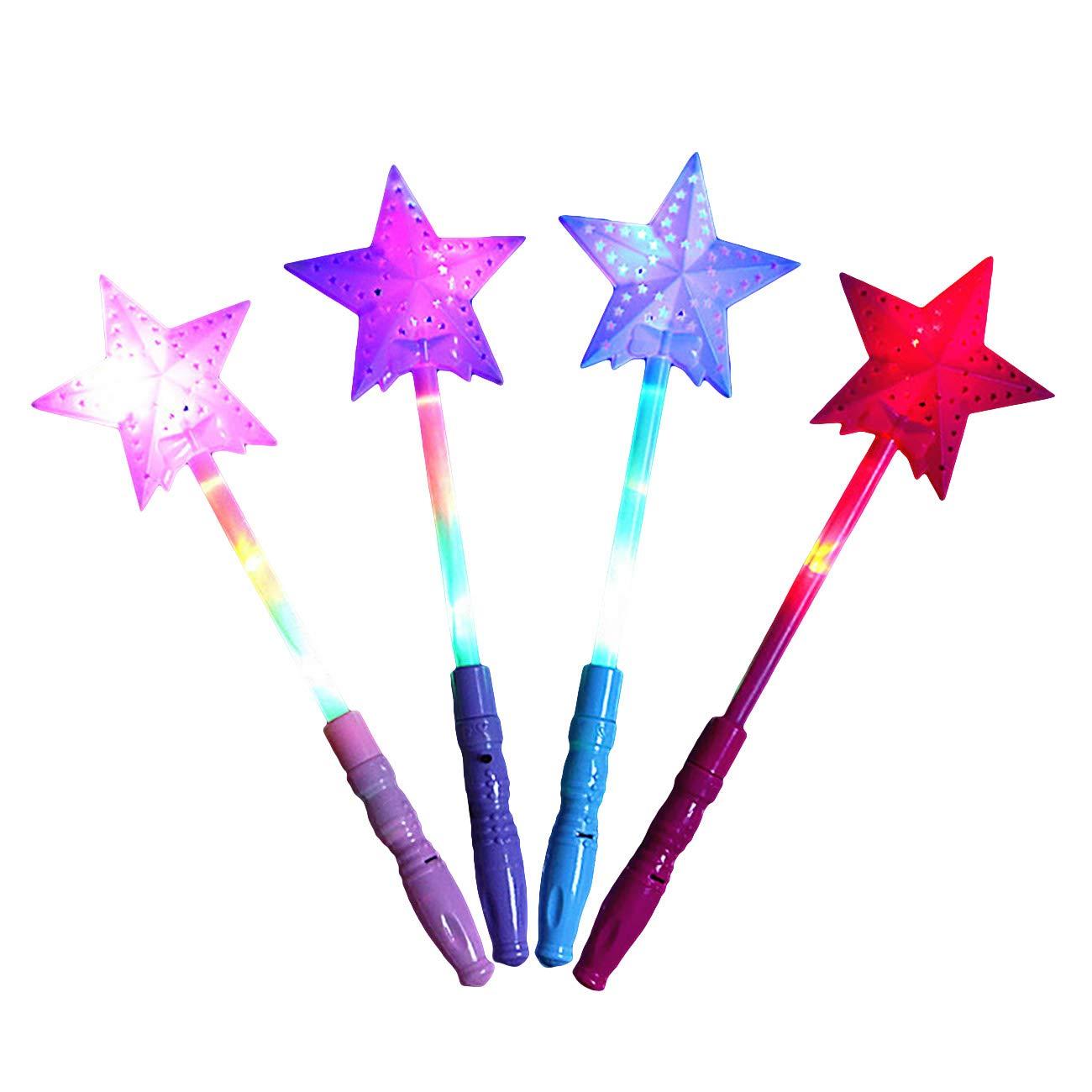 EZSTAX 4pcs LED Baguette Magique d'étoiles Lumineuses pour Enfants Jouet pour Enfant