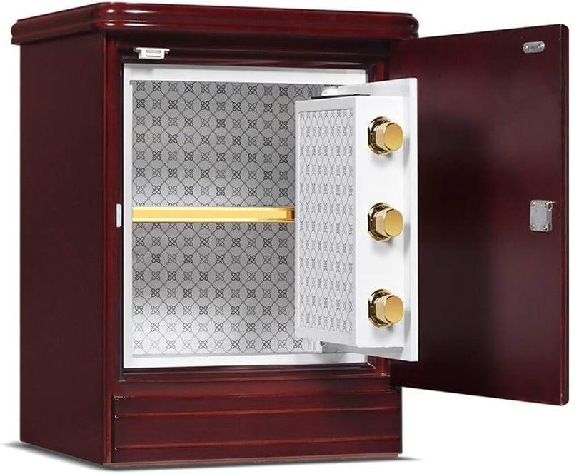 金庫 家庭用高品質見えない安全な木製ベッドサイドテーブル電子金庫LEDデジタル管表示装置 盗難防止 (Color : Red, Size : 55x43x37cm)