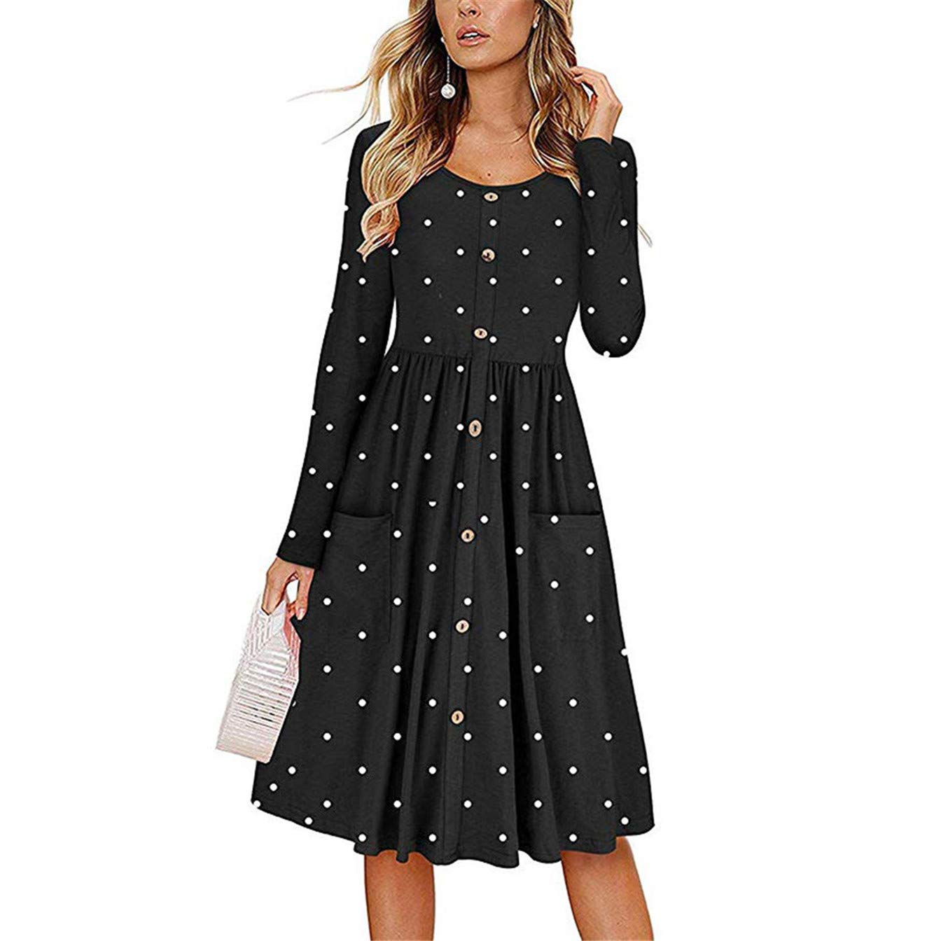 TIFENNY Womens Dot Print O Neck Button Dress Long Sleeve with Pocket Fashion Loose Casual Beach Long Maxi Dress