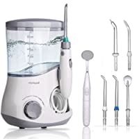 Water Flosser 600ml Dental Oral Irrigator Teeth Cleaner for Personal Braces Care Teeth Cleaning, 7 Multifunctional Jet Tips and 10 Adjustable Water Pressure Perfect for Family