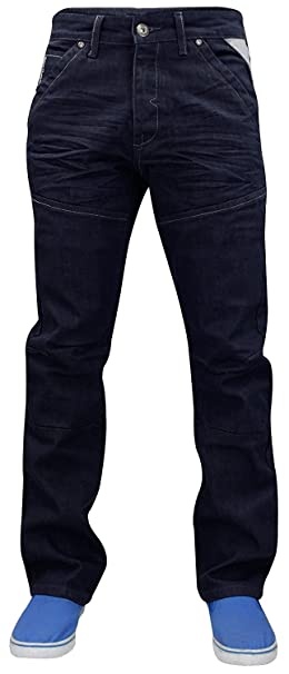 2eb6c86b21 Enzo Uomo Designer Regular Fit Gamba Dritta Denim Jeans girovita da ...