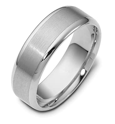 63a6fb10c Mens 14K White Gold, 7MM Satin and Polished Wedding Band | Amazon.com