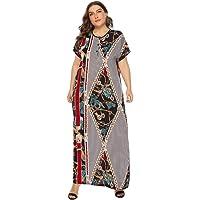 BaronHong Women's Cotton Vintage Ethnic Print Kaftan Short Sleeve Maxi Dress