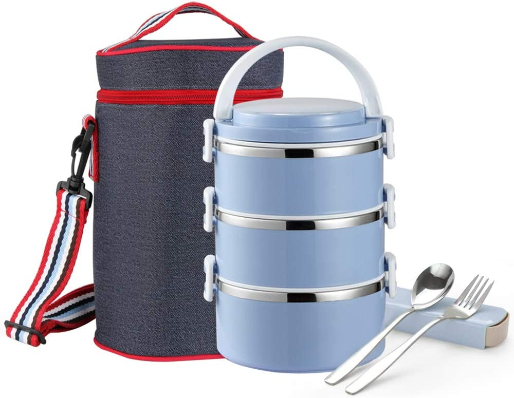 TiLeMiun 3-tier Bento Lunch Box Stainless Steel Insulated Lunch Container with Bag and Foldable Spoon Stackable & Leak-proof Portable Bento Box (Blue)