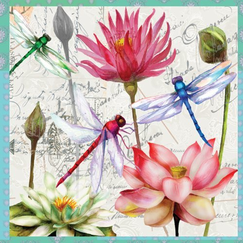 Paperproducts Design 7737 Paper Luncheon Napkin, 6.5 by 6.5-Inch, Zanzibar Dragonfly and Flower by Paperproducts Design by Paperproducts Design