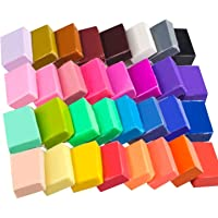 Polymer Clay Starter Kit, 32 Colors Safe and Nontoxic Soft DIY Modelling Moulding Clay, Baking Clay Block with Tools and…