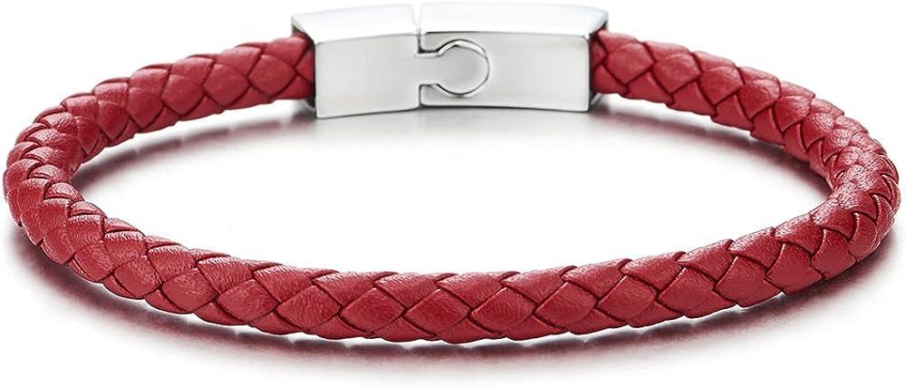 COOLSTEELANDBEYOND Fina Pulsera Rojo Cuero Trenzado de Hombre Mujer, Pulsera Cuero Tejido de Hombre Mujer, de Acero Cierre Magnético