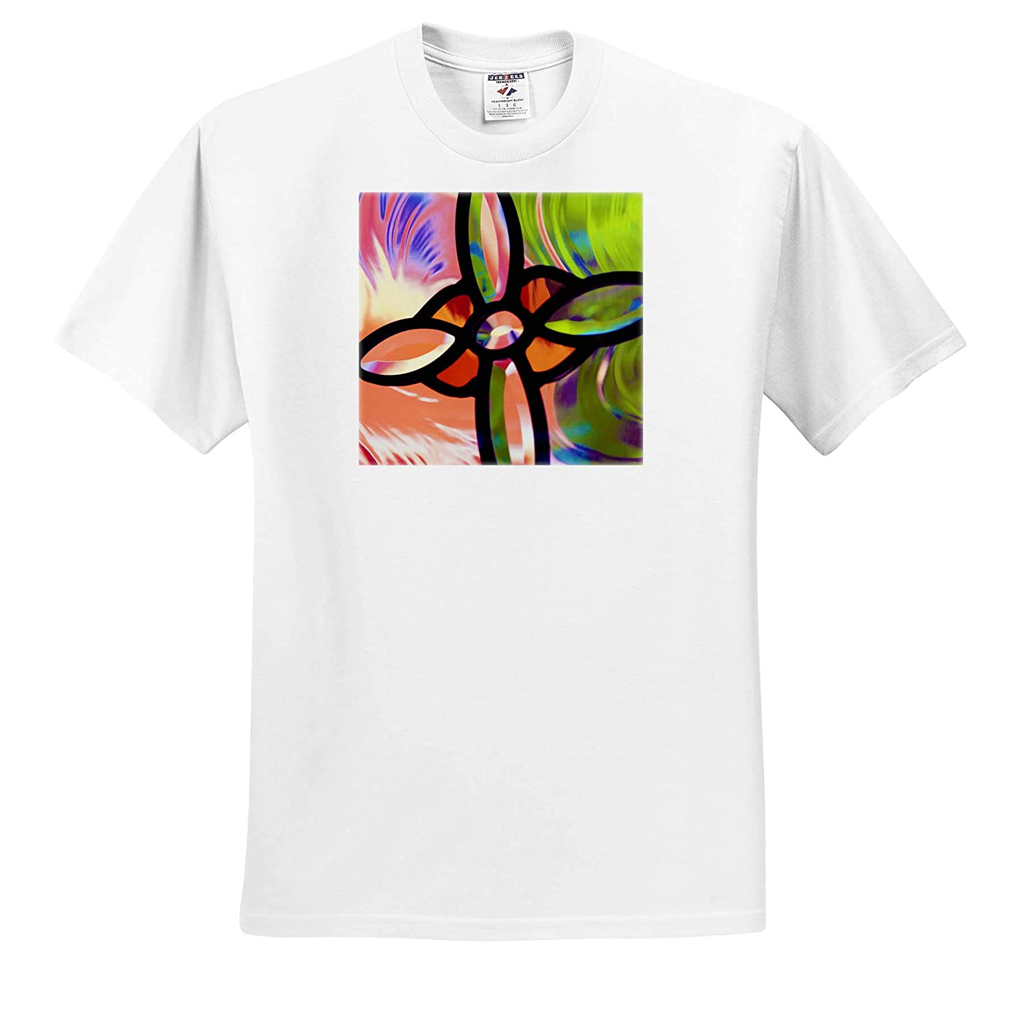 3dRose Stamp City - T-Shirts Miscellaneous Close-up Photo of a Glass Door Picking up The Colors of The Outdoors