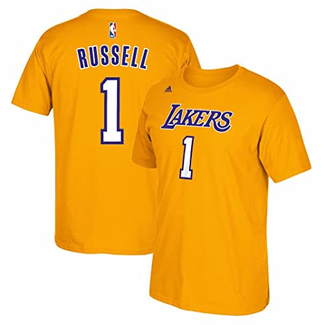 adidas D Angelo Russell Los Angeles Lakers Gold Jersey Name and Number  T-Shirt eba97c9f4